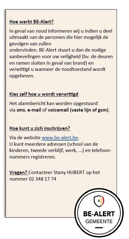 Cadre infos be alert NL