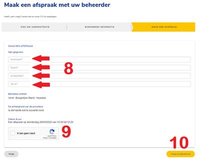 Prise de RDV en ligne écran 4 NL